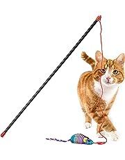 Relaxdays Katzenangel mit Maus, Training & Beschäftigung, interaktiv, Katzenspielzeug, Cat Stick L: 47cm, Spielangel, bunt