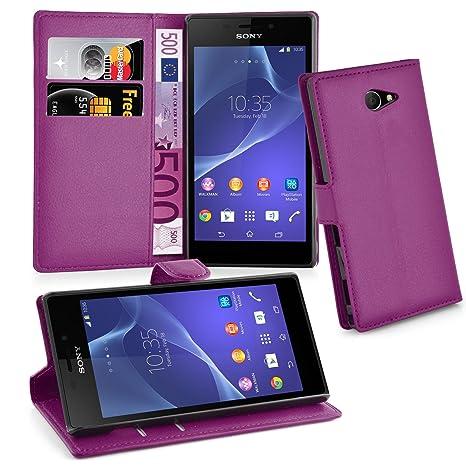 Cadorabo Carcasa para Sony Xperia M2 Móvil En Manganeso púrpura Funda con Tarjetero y función Atril Case Cover Carcasa Funda Book Style Manganeso de ...