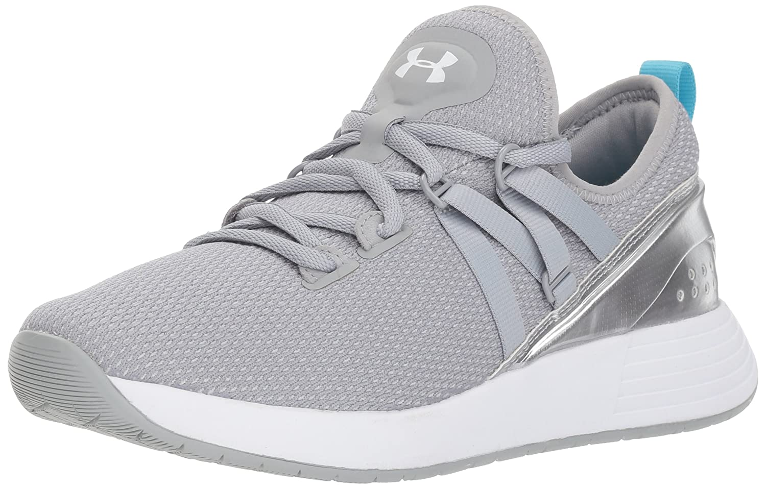 Under Armour Women's Breathe Trainer Sneaker B076S521WC 5.5 M US|Overcast Gray (101)/Metallic Silver