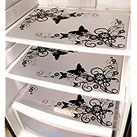 Generic Khushi Creation PVC Classic Refrigerator Drawer mat Fridge Mats(ppq174, Black and White)- Set of 6