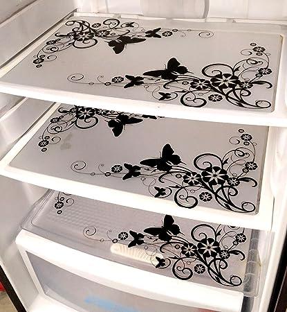Generic PVC Classic Refrigerator Drawer mat (Black and White)- Set of 6