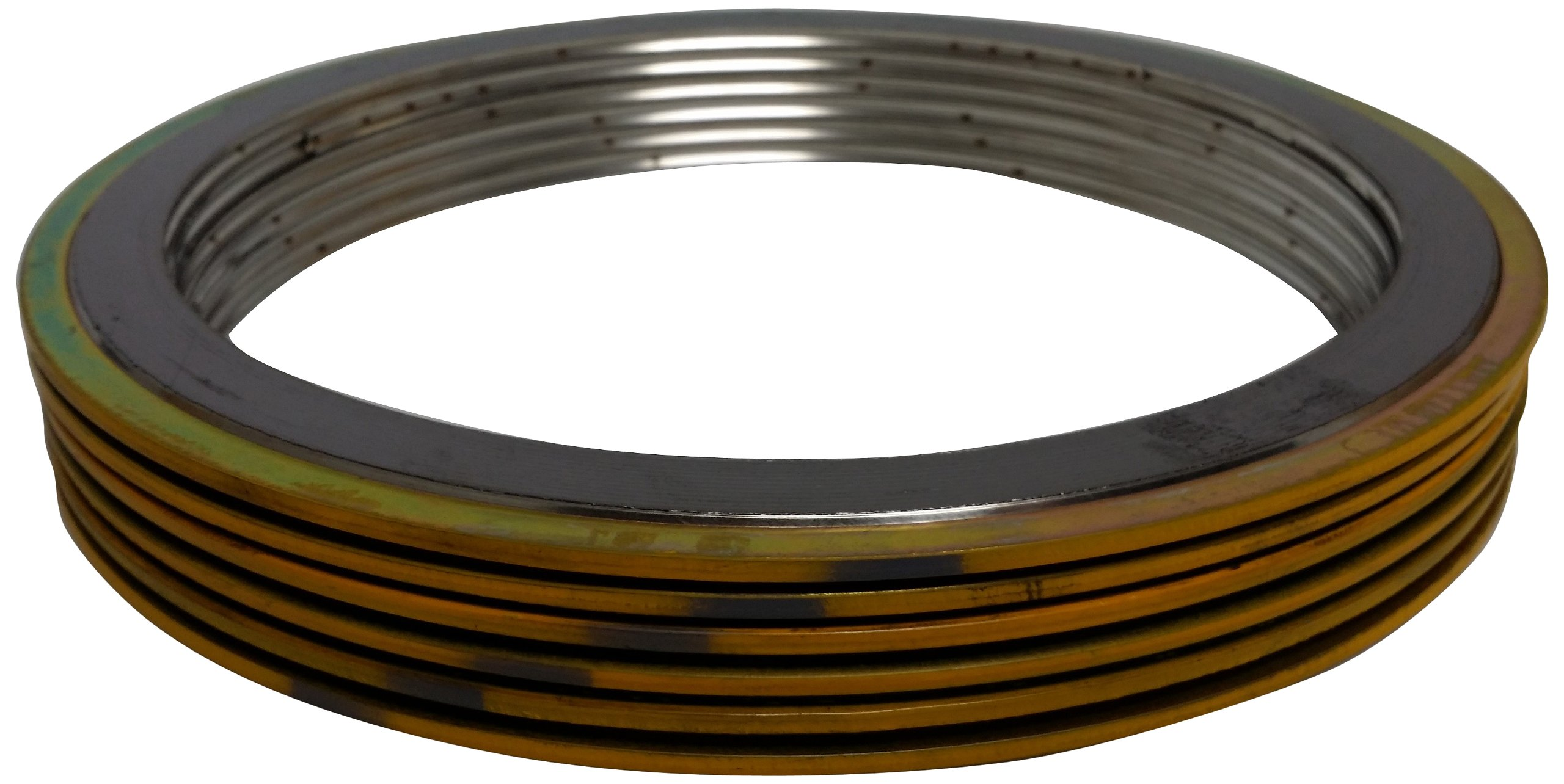 Sterling Seal & Supply SSS 90001500304GR300X6 Yellow Band with Gray Stripe Spiral Wound Gasket, High Temperature (Thermal Cycling) and/or Pressure Variations, 1-1/2'' Pipe Size, 300# Class Flange, 304SS Windings with a Flexible Graphite Filler (Pack of 6) by Sterling Seal & Supply, Inc. (STCC) (Image #1)