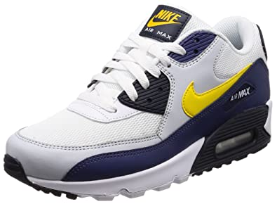 19f03841614 Nike Mens Air Max 90 Essential Yellow Blue Recall Leather Trainers 41 EU