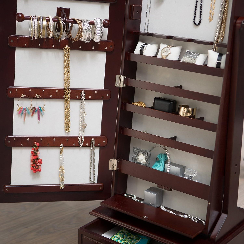 Amazoncom Belham Living Swivel Cheval Jewelry Armoire Cherry