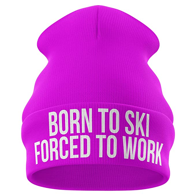 Beanie Hat Skiing Accessories Born To Ski Forced To Work Funny Ski Hat