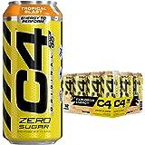 Cellucor C4オリジナル 炭酸入りノンシュガーエナジードリンク、プレワークアウトドリンク+ベータアラニン、スパークリング・トロピカル・ブラスト、473ml(16液量オンス)入り缶(12缶パック)