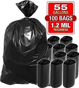 Heavy Duty 100 PK Black Trash Bags - 55 Gallon Black Bags for Garbage, Storage - 1.2 Mil Thick, 35