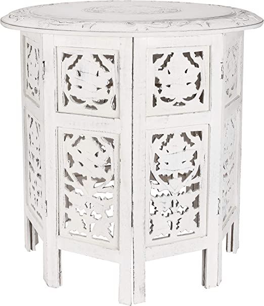Amazon.com: Solid Wood Hand Carved Accent Table, Side Table