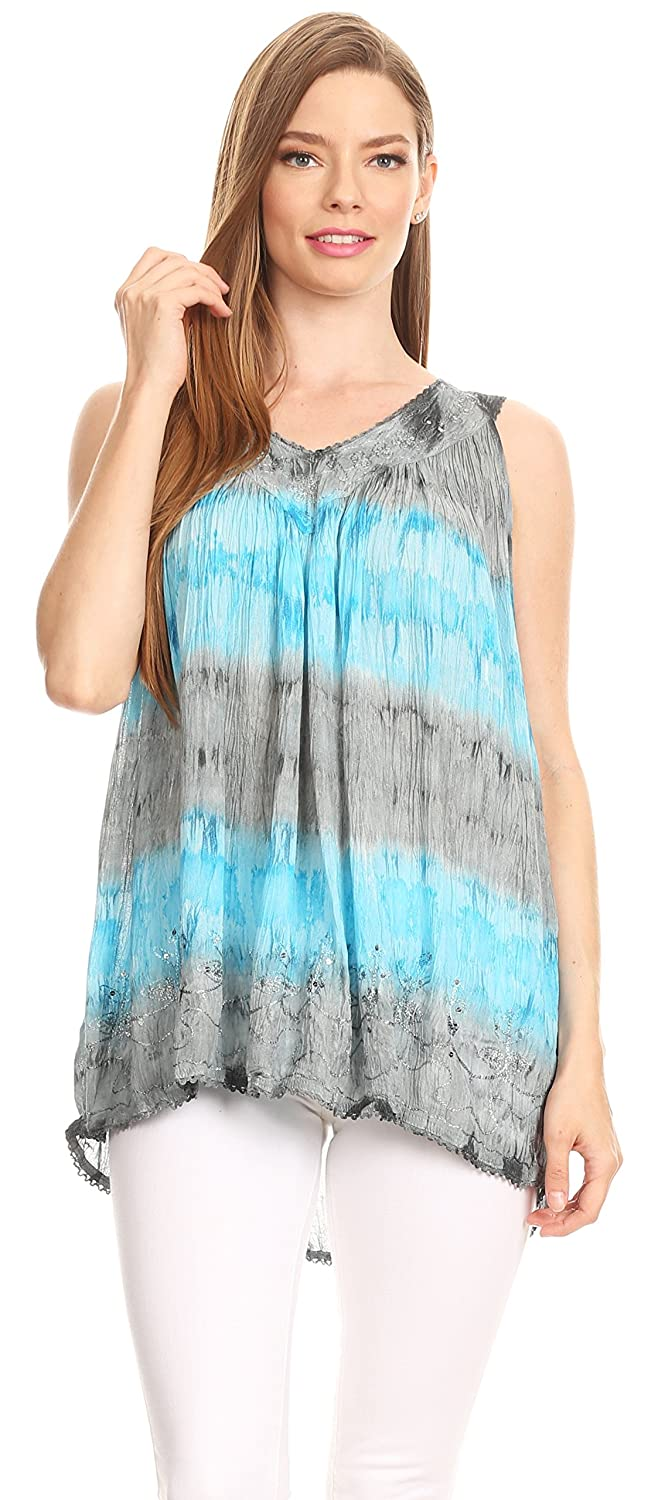 97f1bcdd3e74a Sakkas 82531 Ocean Breeze Sleeveless Blouse - Charcoal - One Size at Amazon  Women s Clothing store