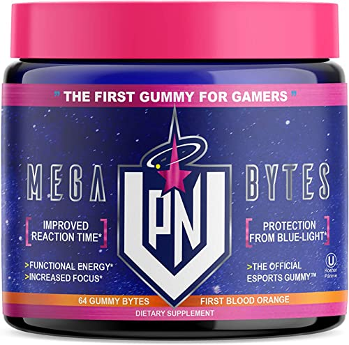 VPN Nootropic Gummies, Blood Orange – Mega Bytes – Elite Gaming Nootropic – Focus Brain Booster Supplement – Caffeine Free – Focus Enhancer, React Quick, Eye Vision Vitamins, Energy, 64ct