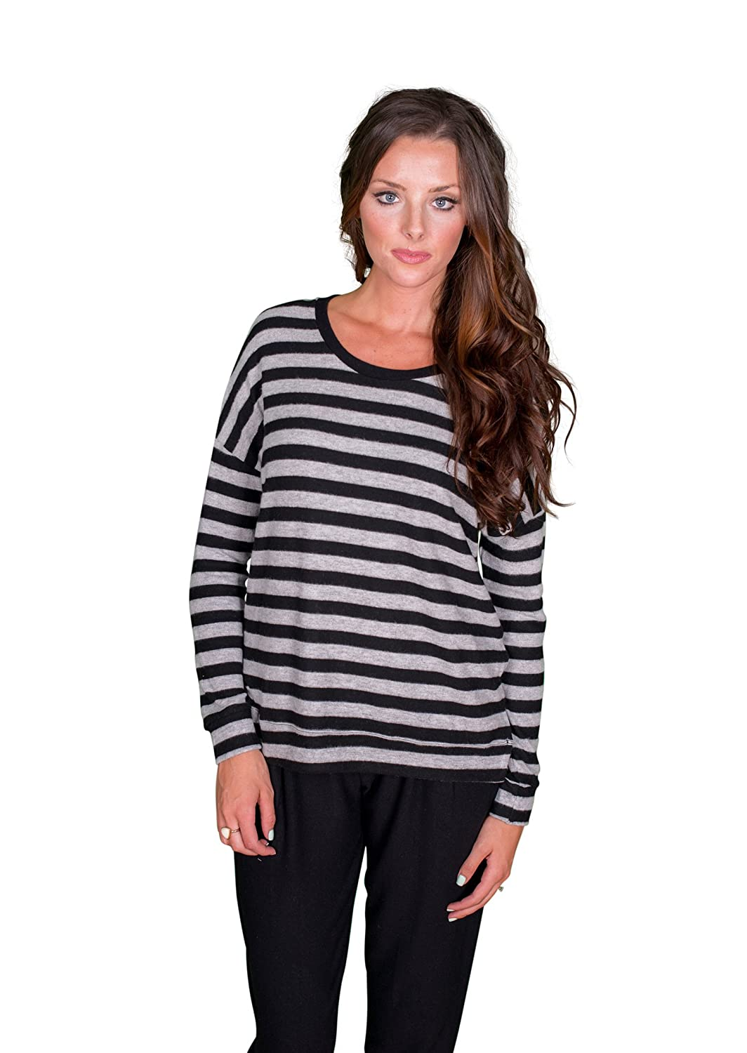 Velvet by Graham and Spencer Teresita Cozy Jersey Striped Sweatshirt