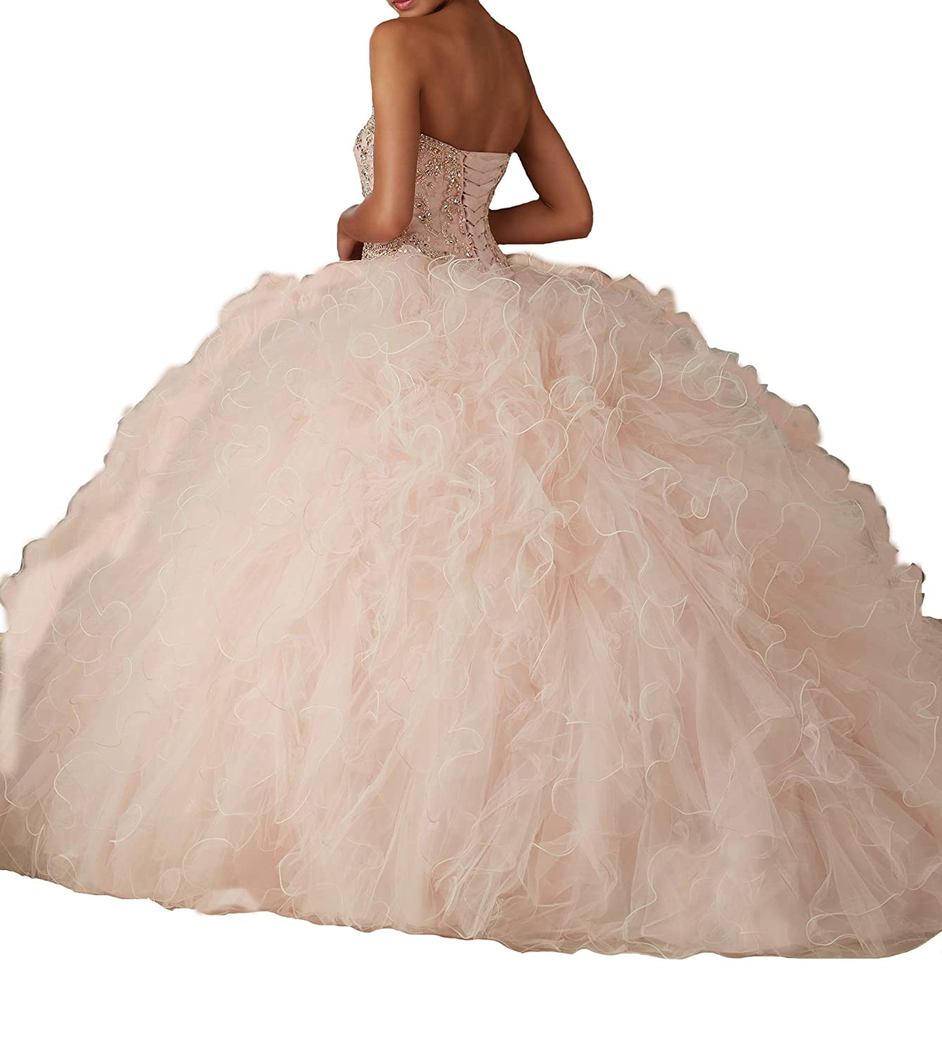 becccebb72 HuaMao Women s with Jacket Beads Sweet 16 Long Quinceanera Dresses at Amazon  Women s Clothing store