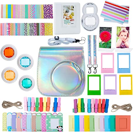 Comprar ZWOOS 12 en 1 Accesorios para Instax Mini 9/ Mini 8/ Mini 8+/ Mini 8S Cámara instantánea, Incluida Funda para cámara/Lente Selfie/álbum/Pegatinas/Marcos/Filtros (Plata láser)