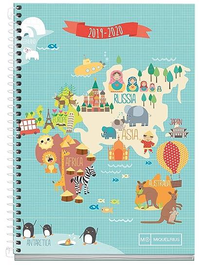Miquelrius Agenda Escolar 19/20 Semana Vista Mapamundi Castellano