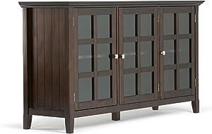 SIMPLIHOME Acadian SOLID WOOD 62 inch Wide Rustic Wide Storage Cabinet in Brunette Brown, with 3 Tempered Glass Doors, 3 Adjustable Shelves