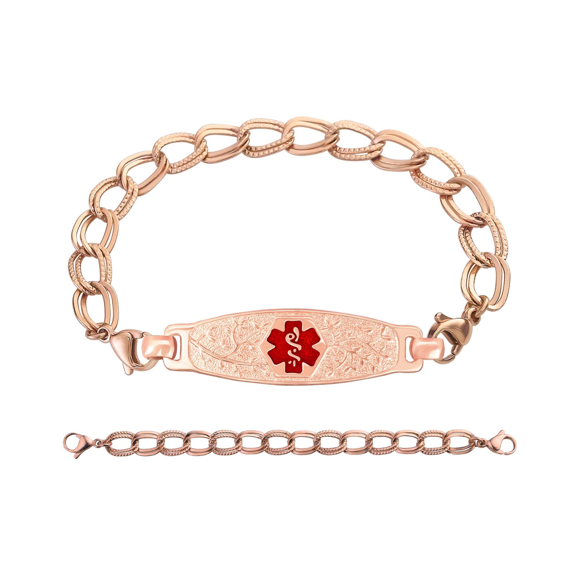 Divoti Deep Custom Laser Engraved PVD Rose Gold Elegant Olive Medical Alert Bracelet -PVD Rose Gold Double Link-TP Red-7.0''