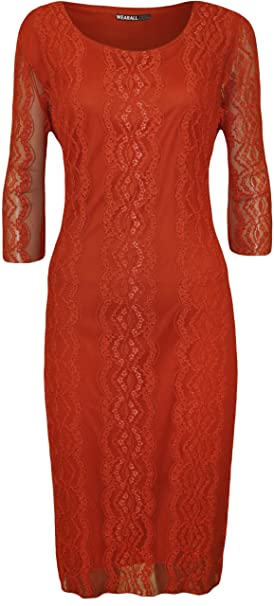 WearAll Plus Size Womens Lace 3/4 Sleeve Dress - Burnt Orange - US 22