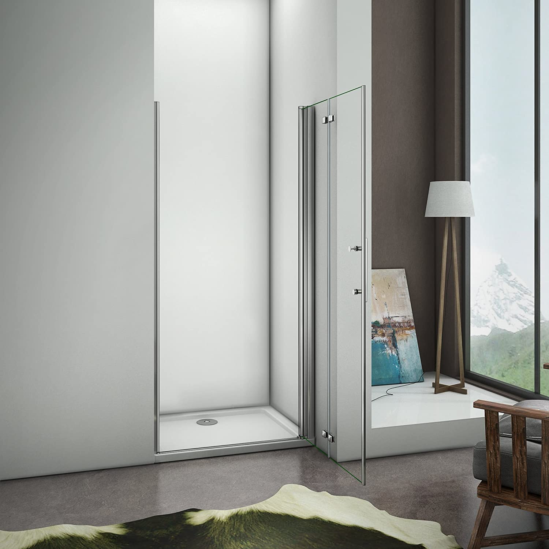 70x185cm Porte de douche porte de douche /à charni/ère installation en niche verre securit