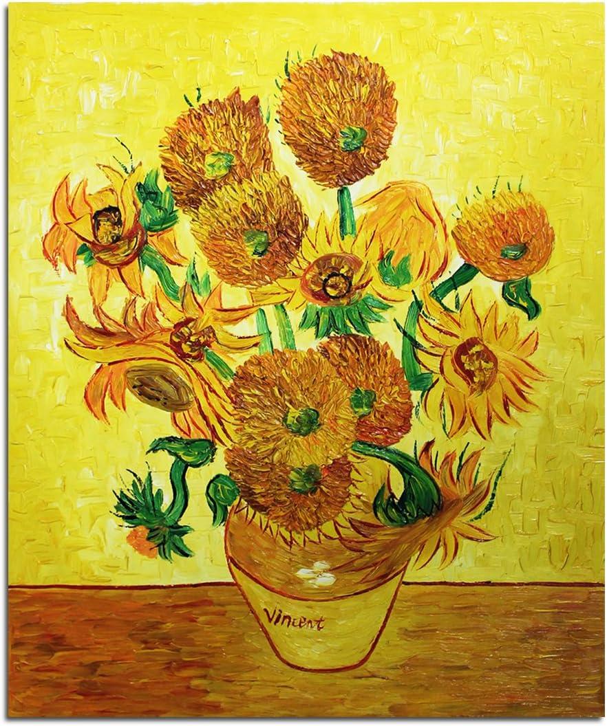 Fokenzary lienzo pintado a mano arte clásico Vincent van Gogh girasoles enmarcados y listos para colgar decoración de pared 20x24in