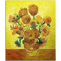 Fokenzary, dipinta a mano, pittura a olio su tela, Vincent Van Gogh, riproduzione classica di girasoli, decorazione da parete, incorniciata, pronta da appendere