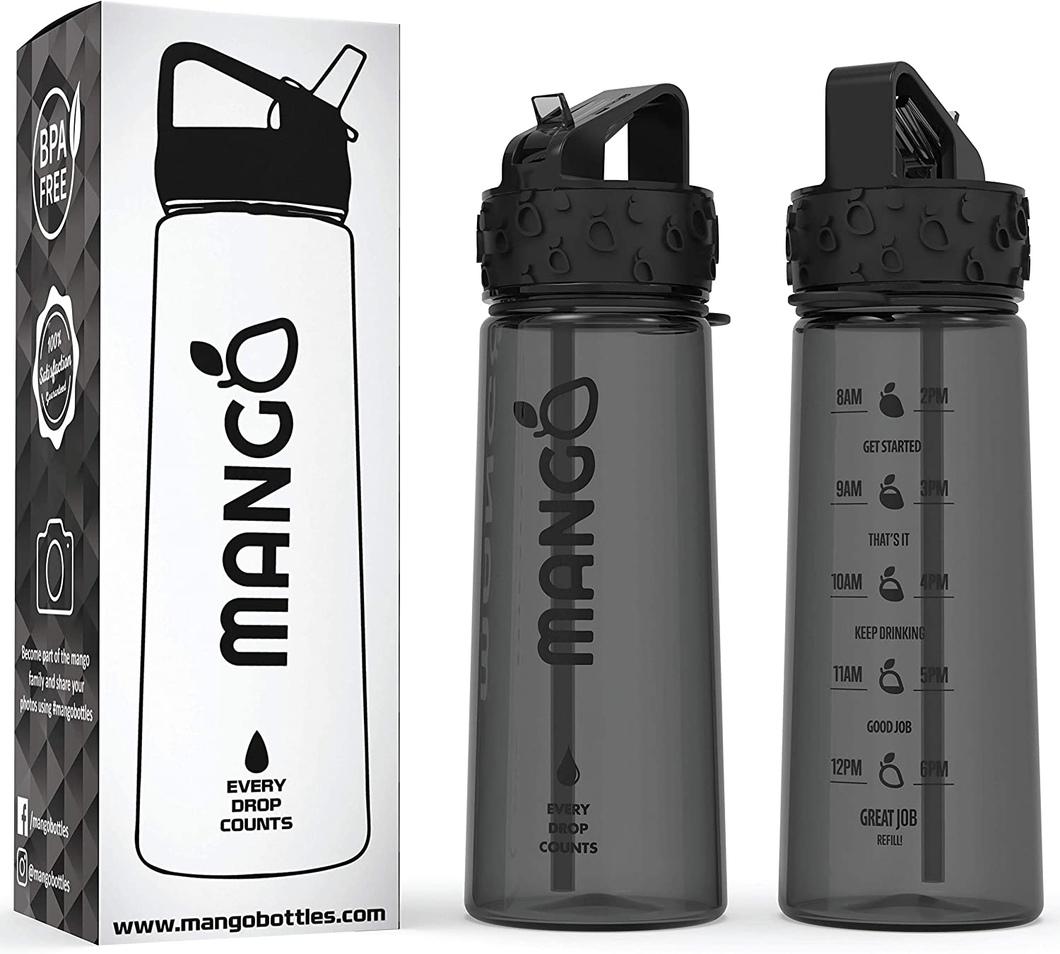 Mango Sports Motivational Water Bottle With Straw and Times To drink BPA...