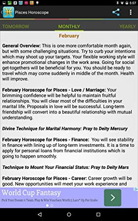 Amazon com: Pisces Horoscope: Appstore for Android