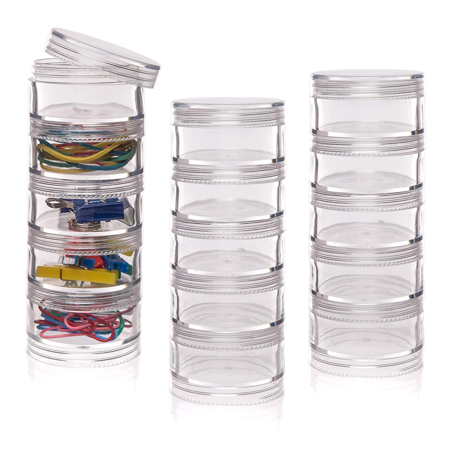 Tidy and Store Craft Materials Ideal for School Organise Baker Ross Stackable Screw Top Storage Pots Home Perfect to Fill Pack of 3 Craft Groups and More