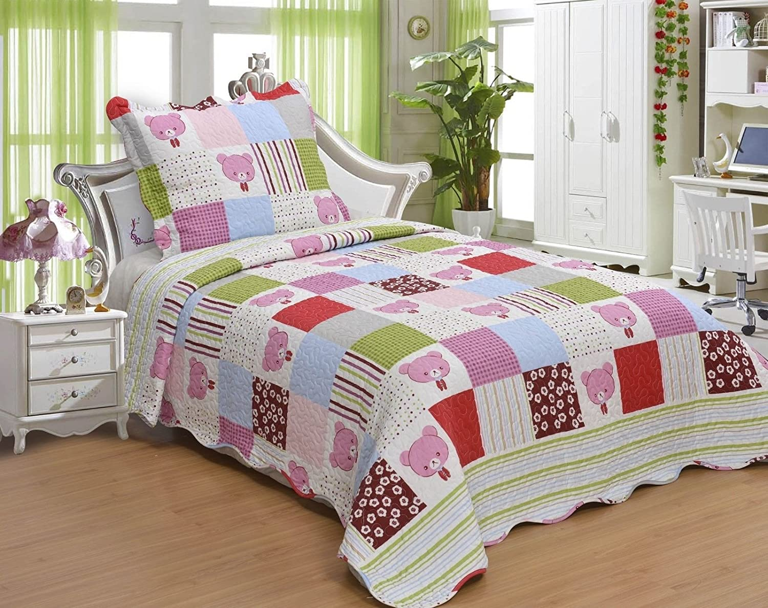 Girl's Pink Polka Dot Shabby Chic Cartoon Bear, Children's Patchwork Twin Size Quilt Set