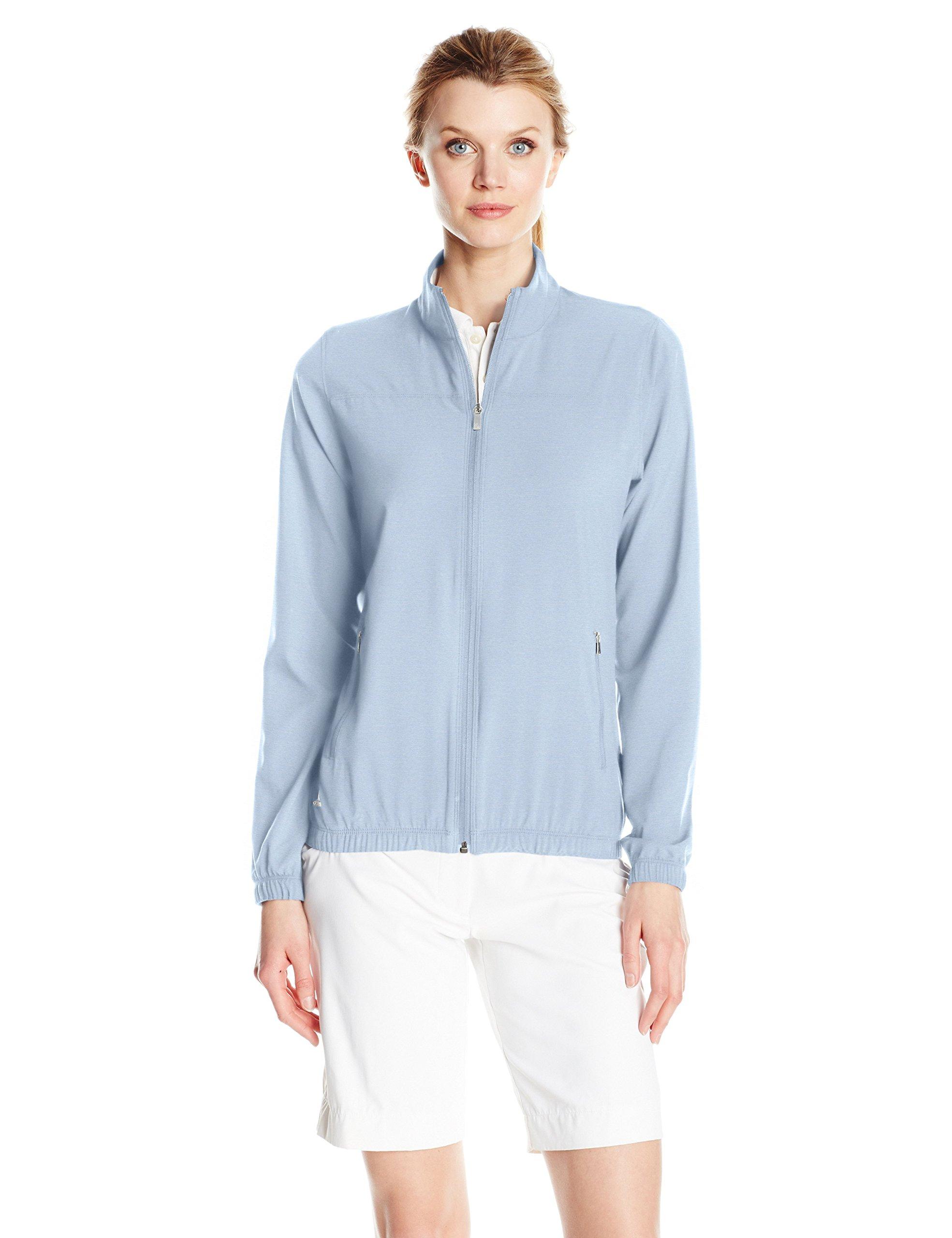 adidas Golf Women's Essential Wind Jacket, Large, Vision Blue Heather