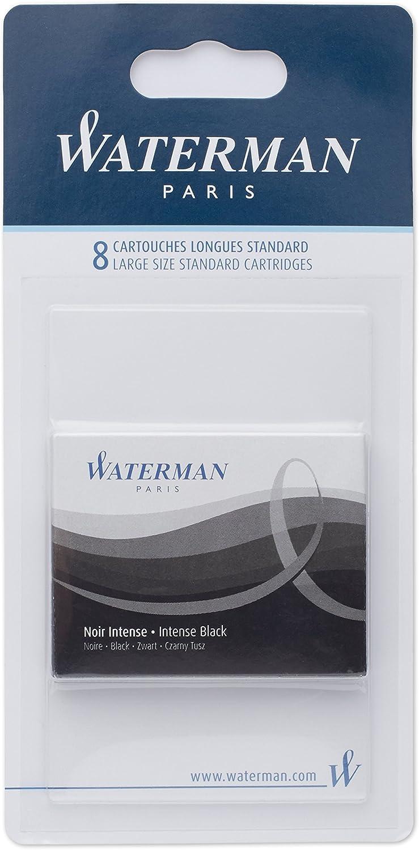 Waterman Fountain Pen Ink Cartridges, Long, Intense Black, 8 Count, Blister Pack
