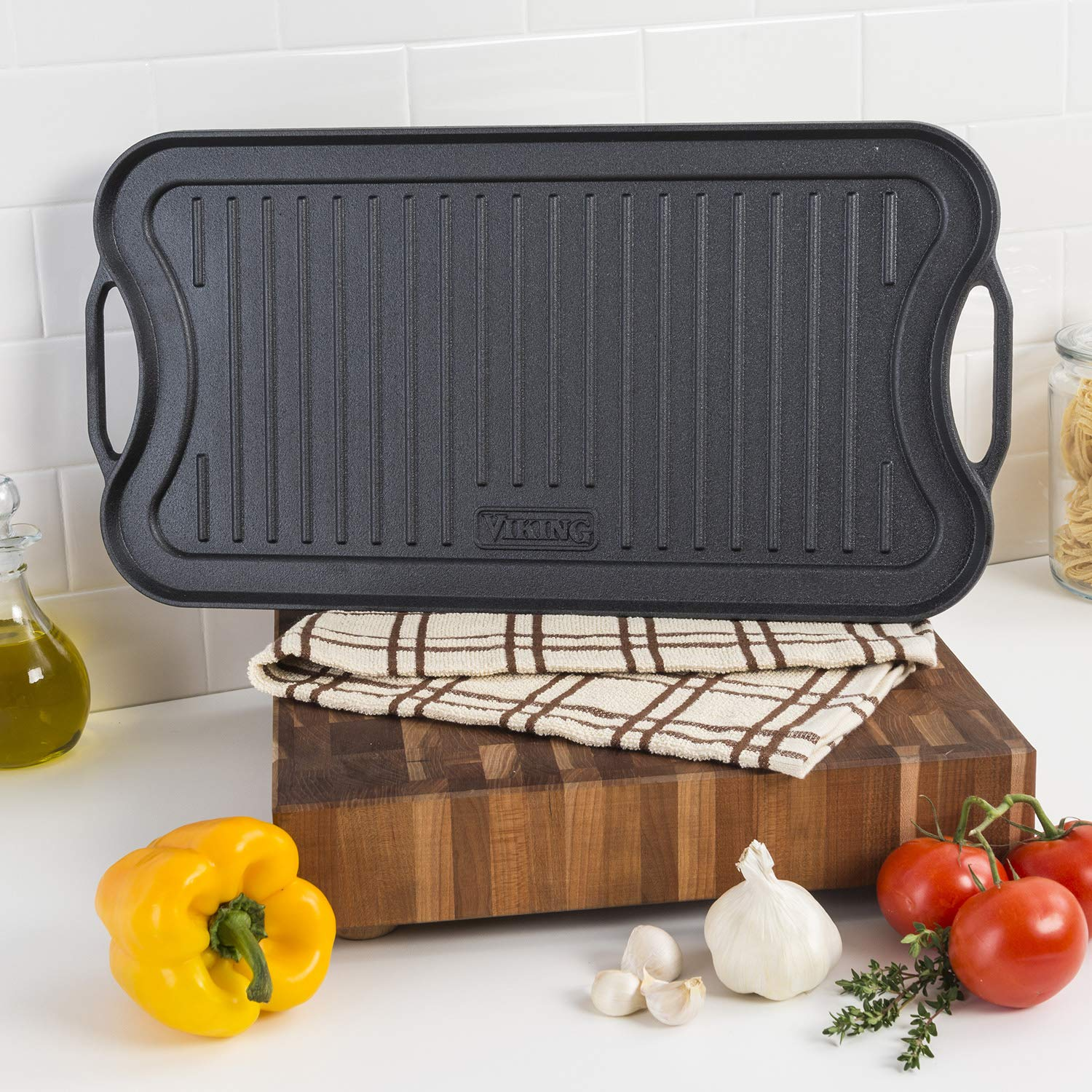 Viking Enamel Cast Iron Reversable Grill and Griddle Pan, 20 Inch by Viking Culinary (Image #4)