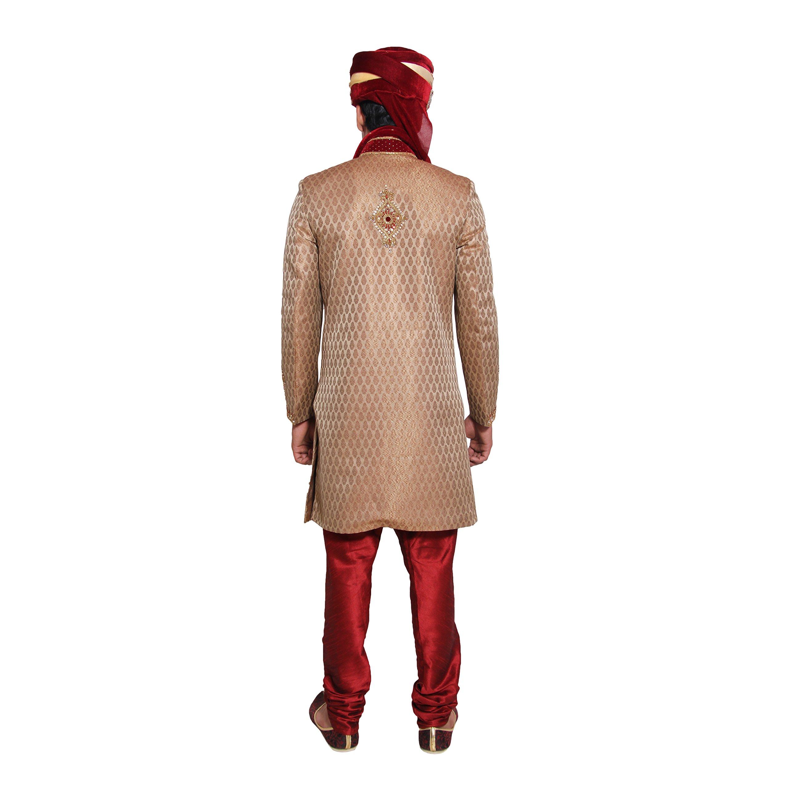 Indian Wedding Kurta Pajama Sherwani for Men Banarasi Silk Maroon Kurta Set by Favoroski (Image #4)