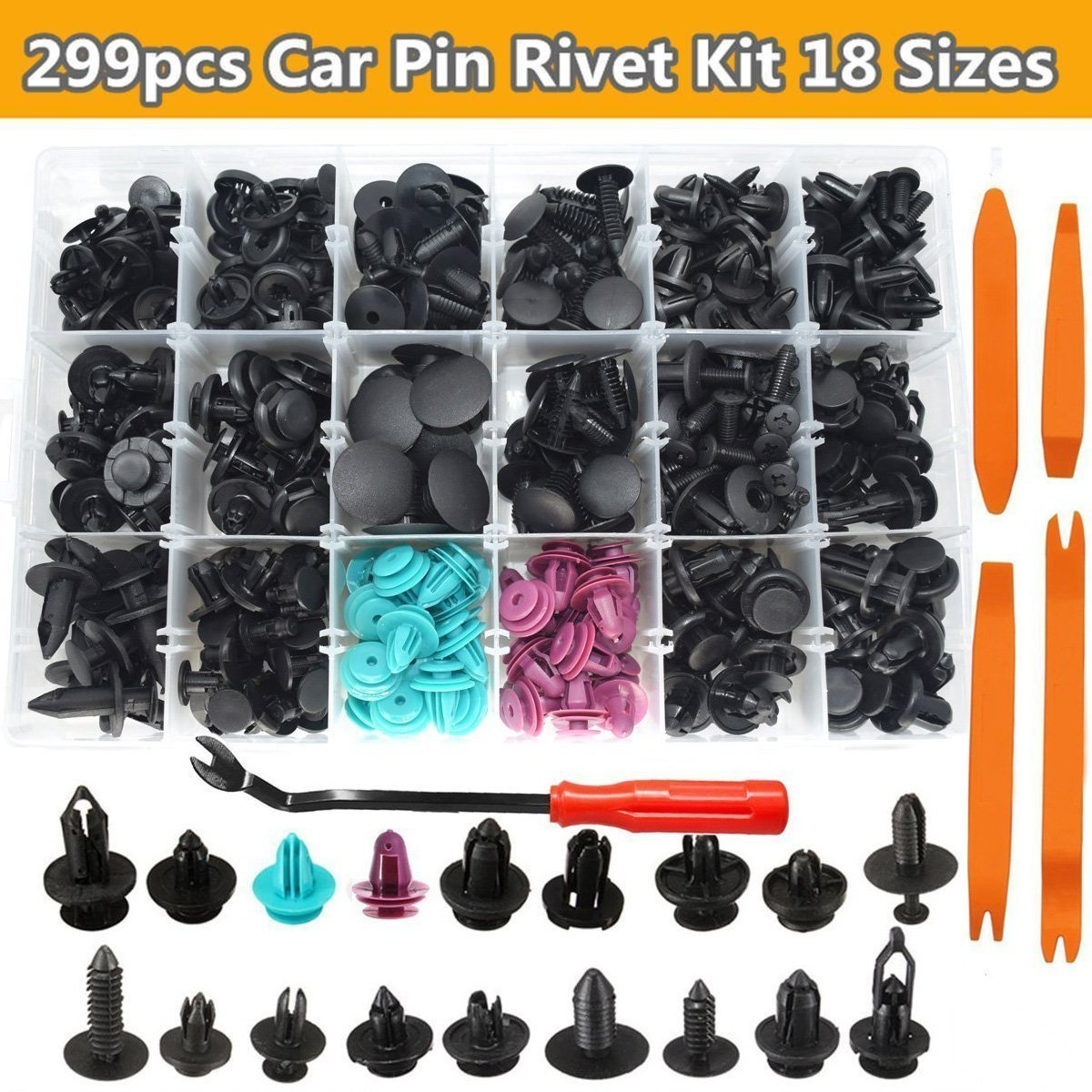 CNIKESIN 555Pcs Automotive Plastic Rivets Kit Bumper Clip Fasteners Push Retainer Kit Fender Trim Clips with 5Pcs Car Trim Molding Removal Tool Kit for Toyota Honda Lexus All car