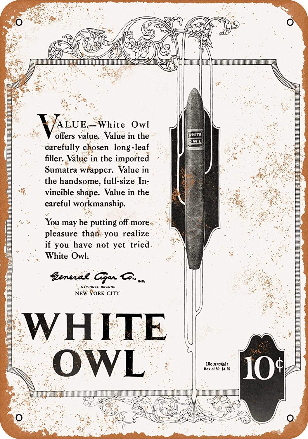 Kia Haop White Owl Cigars Metal Fender Cartel De Chapa Placa ...