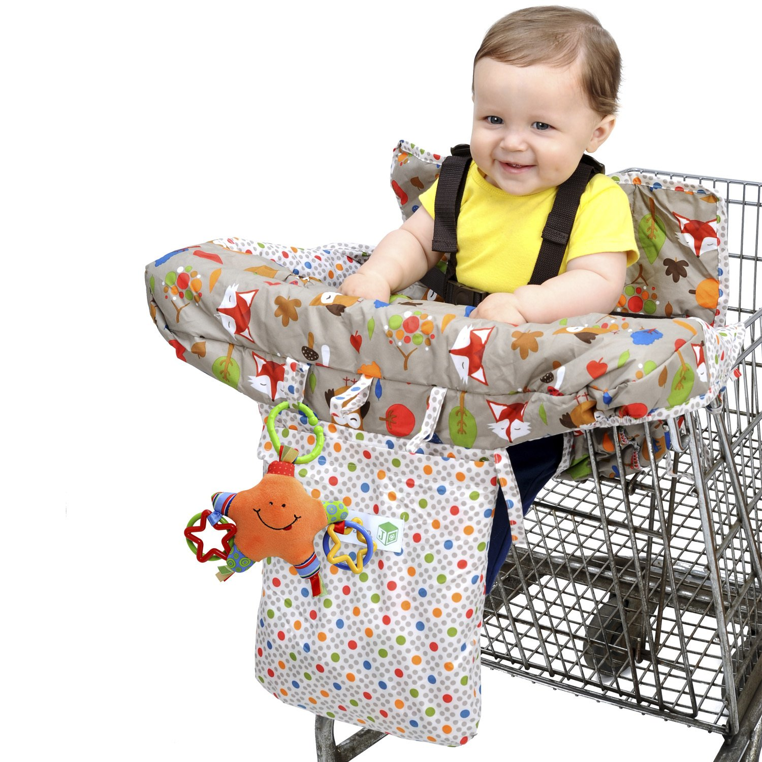 Jeep 2-in-1 Shopping Cart Cover High Chair Cover, High Chair Cushion, Baby Grocery Cart Cover, Infant High Chair Cover, Safety Harness, Cart Cover, Toddler, Universal Size, Essentials Pocket J is for Jeep 90259