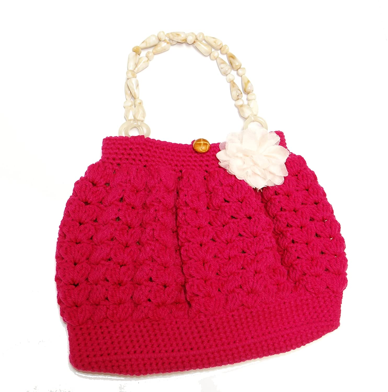 Shell Pattern Crochet Bag With Handle Top Pink At Amazon Womens