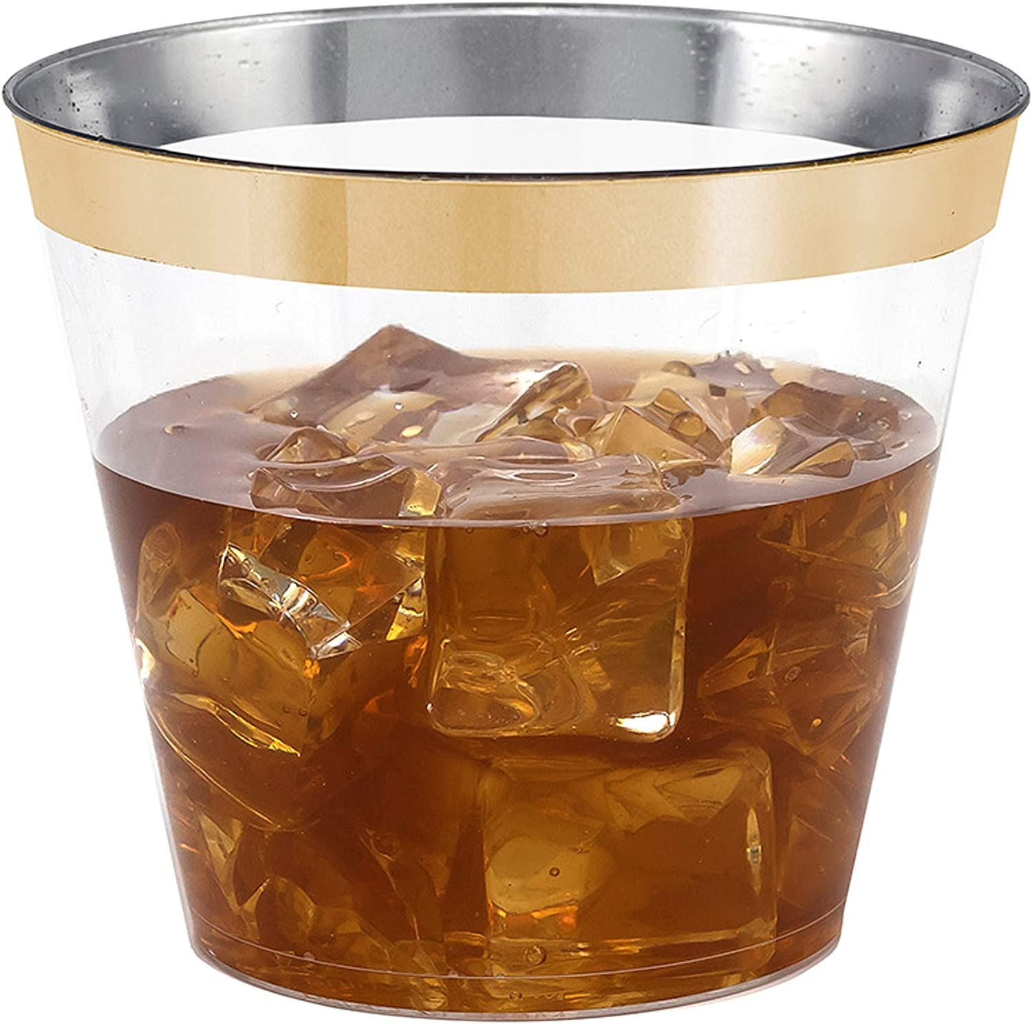 100 Gold Rimmed Clear Hard Plastic Cups | 9 oz. Fancy Disposable Tumblers (100-Pack) by Bloomingoods
