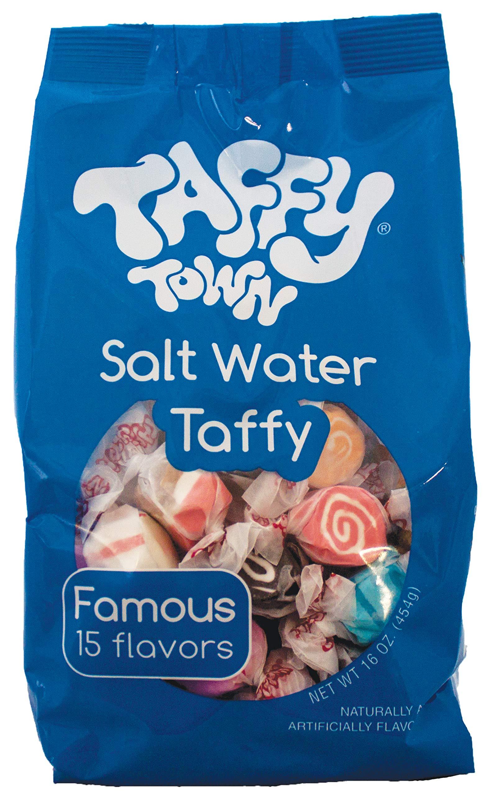 Taffy Town Assorted Salt Water Gourmet Taffy, 1 lb (Pack of 12)