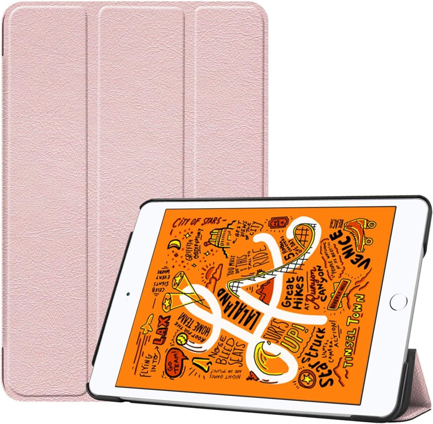 ORIbox Case for New iPad Mini 5th 7.9''(2019), Lightweight Trifold Stand Smart Cover with Auto Sleep/Wake Function,Hard Back Cover for iPad Mini 5, 7.9 Inch, Pink