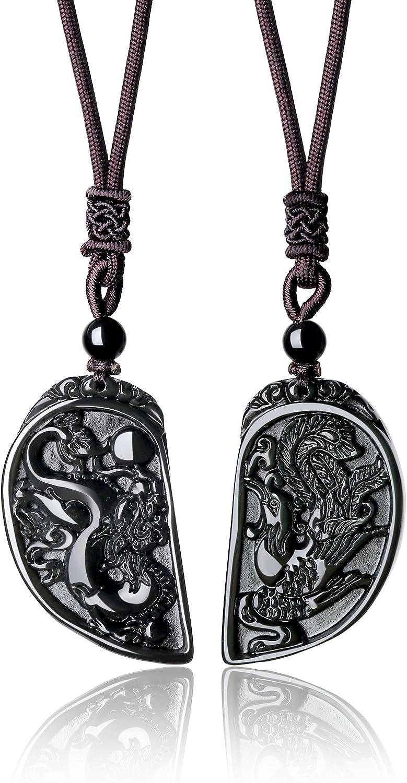 coai Partnerkette aus Obsidian Taichi Yin und Yang Drachen und Ph/önix Gravur Anh/änger