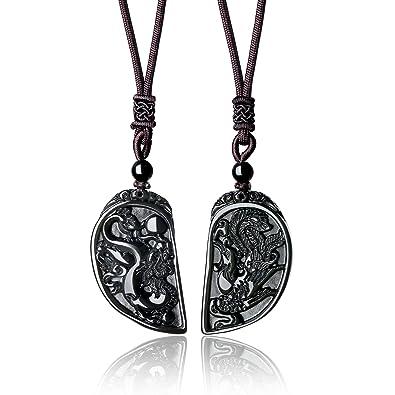 e03d4f89513f COAI® Collar de Pareja de Colgante Piedra Obsidiana Dragón y Fénix 2  Piezas  Amazon.es  Joyería