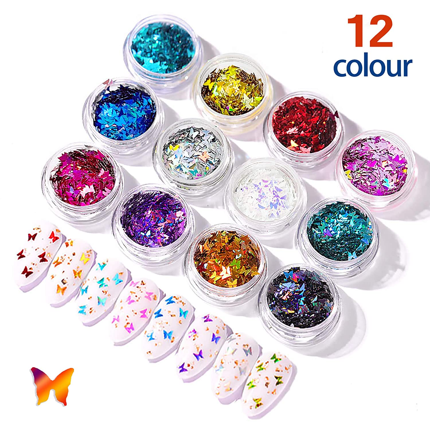 Butterfly Nail Art Glitter Sequins - 3D Laser Holographic Acrylic Nail Design Accessories Iridescent Nail Glitter Flakes Decorations for Make Up Body Face Hair Eye Decor Butterflies Shaped - 12 Color: Beauty