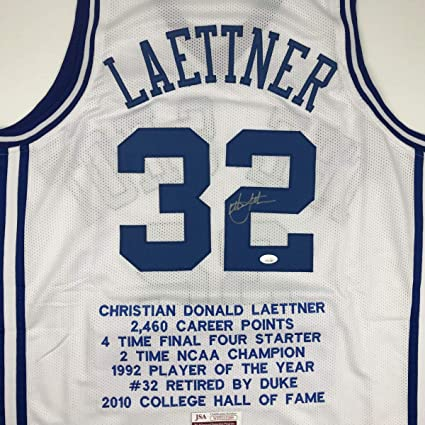 new concept 52c9b d6a9e Autographed/Signed Christian Laettner Duke White Stat The ...