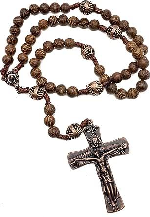 Nazareth Store - Notre Père Bois Chapelet Perles Collier Avec Belle Grand Croix Crucifix Antique