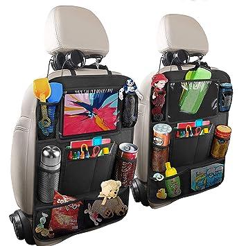 Hossom Auto Rückenlehnenschutz Rücksitzschoner 2pcs Auto Rücksitz Organizer Für Kinder Kick Matten Schutz Für Autositz Mit Durchsichtigem Großen Ipad Tablet Halter Wasserdichtes Baby