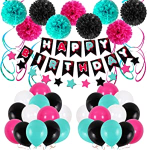 Birthday Decorations Women Blue Birthday Party Decorations for Men Women Boys Grils, Happy Birthday Balloons for Party Decor Suit For 16th 20th 25th 30th 35th 40th 50th 60th 70th (Black and Red)