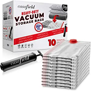 """Casafield 10 Extra Large (42"""" x 30"""") Vacuum Space Storage Saver Bags with Travel Hand Pump - Organize, Compress & Store"""