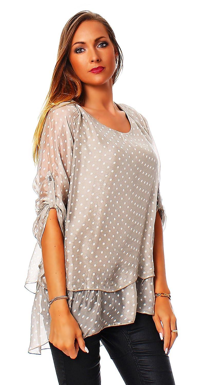 Moda Italia 2 en 1 Elegante Mujer Rayón Blusa Seda Blusa Longshirt Seda Camisa Basic Blusa Túnicas de Lunares Ajuste Regular Beige Beige Talla única: ...