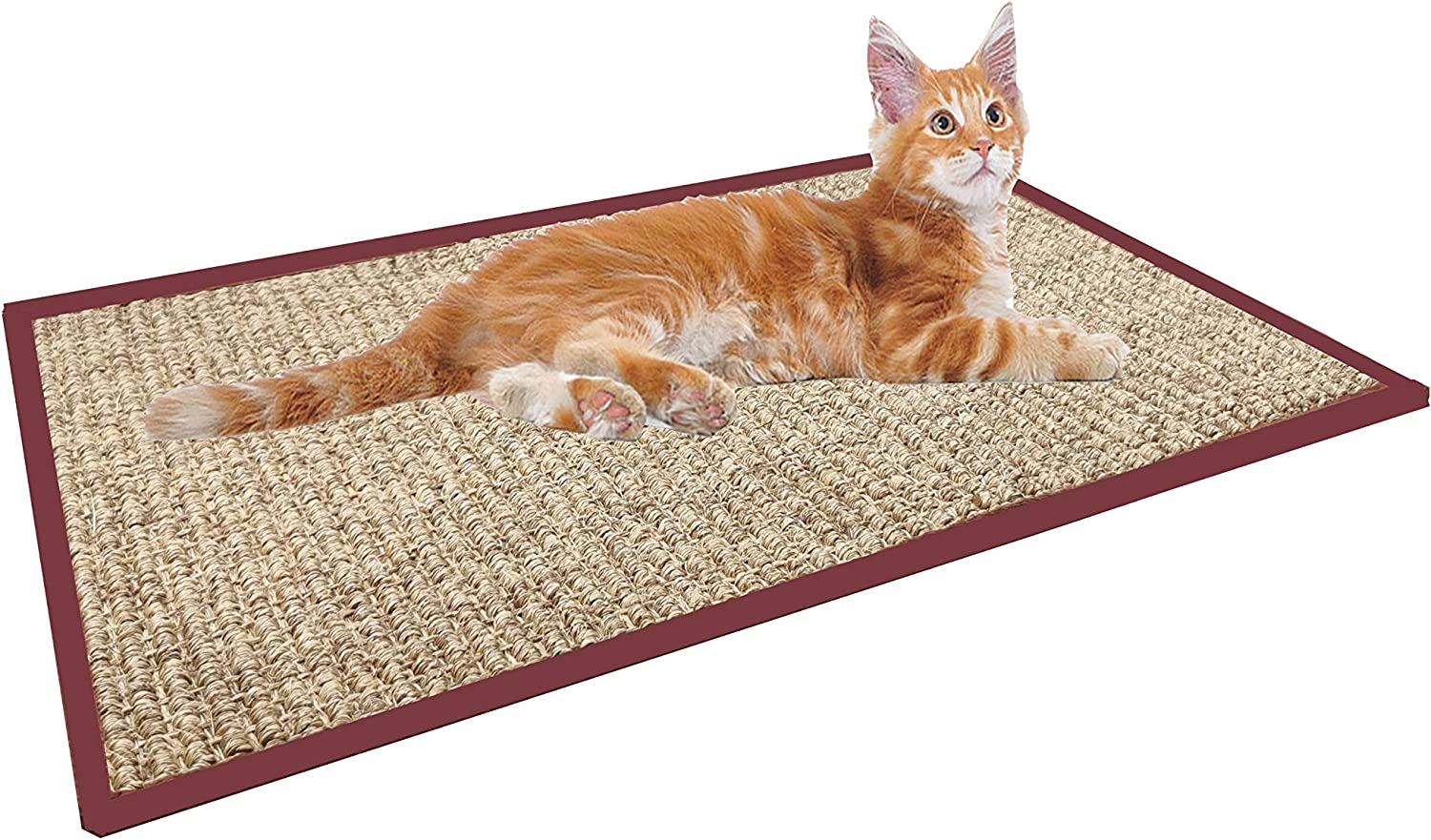 Treasborn Durable Cat Scratcher Thick Sisal Scratching Pad for Cats Anti-Slip Scratch Sleeping Mat No Mess Furniture Protecter Natural for Claws