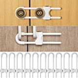 10 Pieces Sliding Cabinet Locks, Child U-Shaped Proofing Cabinet with Adjustable Safety Child Lock, Easy to Use Childproof La